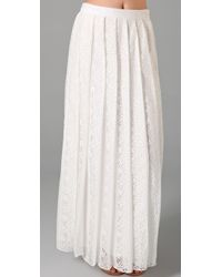 Adam Lippes | Natural Pleated Lace and Silk-chiffon Skirt | Lyst