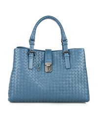 Bottega Veneta | Blue Roma Intrecciato Leather Tote | Lyst