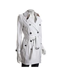 Burberry | Brit White Woven Double Breasted Belted Trench Coat | Lyst