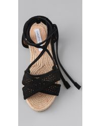 Charlotte Ronson - Black Suede Perforated Espadrille Flat Sandals - Lyst