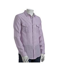 Elie Tahari | Purple Pink Slip Striped Linen Chase Button Front Shirt for Men | Lyst