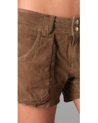 Free People - Brown Suede Utility Shorts - Lyst