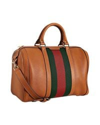 Gucci | Brown Tobacco Leather Vintage Web Boston Bag | Lyst