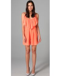 Halston | Orange Tiered Chiffon Romper | Lyst