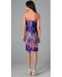 Halston   Purple Floral Cocktail Dress   Lyst