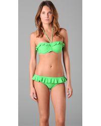 Shoshanna | Green Grass Solid Ruffle Bikini Bottom | Lyst