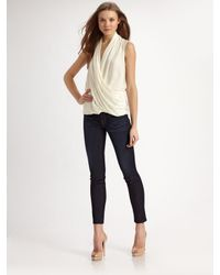 Theory | Natural Derona Woven Stretch Silk Top | Lyst