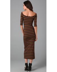 Torn By Ronny Kobo - Brown Eva Stripe Long Dress - Lyst