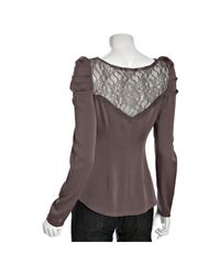 Ace Delivery - Purple Mauve Silk Lace Inset Long Sleeve Blouse - Lyst