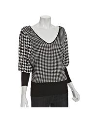 Rosel | Black Houndstooth Knit V-neck Sweater | Lyst