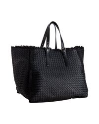 Bottega Veneta | Black Basketwoven Leather Maltinto Fringe Trim Tote | Lyst