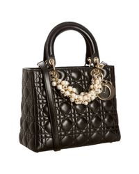 Dior | Black Cannage Lambskin Lady Beaded Medium Tote Bag | Lyst