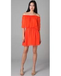 Halston | Orange Off Shoulder Cocktail Dress | Lyst