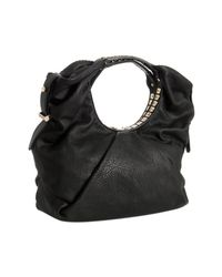 Jimmy Choo | Black Leather Sylvia Studded Handle Medium Shoulder Bag | Lyst