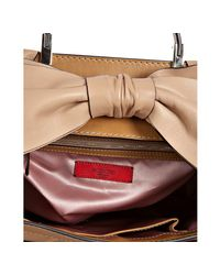 Valentino - Natural Camel Pleated Leather Bow Detail Shoulder Bag - Lyst