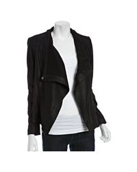 Elie Tahari | Black Lambskin Leather Vanessa Draped Jacket | Lyst