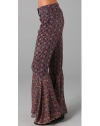 Anna Sui | Purple Print Bell Bottoms | Lyst