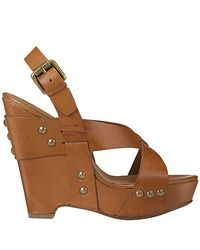 Ash - Lucy - Natural Leather Wedge Sandal - Lyst