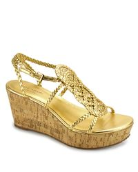 kate spade new york | Metallic Beachy - Gold Braided Rope Cork Wedge Sandal | Lyst