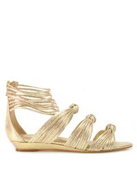 Loeffler Randall - Enid - Gold Metallic Low Wedge Sandal - Lyst