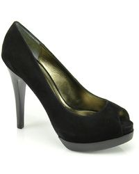 Pelle Moda | Black Wrigley  Suede Open Toe Pump | Lyst