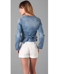 RED Valentino - Blue Ruffle Washed Denim Jacket - Lyst