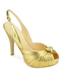 Roberto Festa | Kamelie - Gold Metallic Leather Platform Slingback | Lyst
