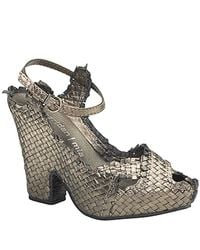 Sheridan Mia | Metallic - Pewter Leather Woven Frayed Sandal | Lyst