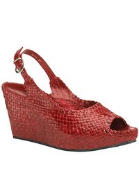 Sheridan Mia | - Red Leather Woven Wedge Sandal | Lyst
