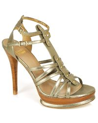 Stuart Weitzman | Green Clip - Metallic Platform Sandal | Lyst