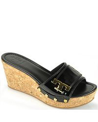Tory Burch | Black Patent Pamela Wedge | Lyst