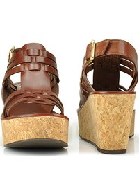 Tory Burch | Brown Lorraine - Luggage Leather Cork Wedge Sandal | Lyst