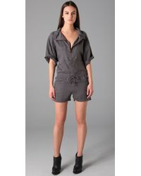 T By Alexander Wang - Gray Tencel Romper - Lyst