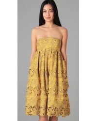 Tibi - Yellow Eyelet Strapless Dress - Lyst