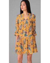 Tibi | Yellow Paisley Drop Waist Dress | Lyst