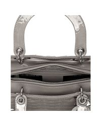 Dior | Gray Grey Cannage Patent Lady Medium Tote | Lyst