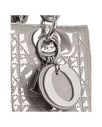 Dior | Gray Grey Cannage Patent Lady Medium Tote | Lyst