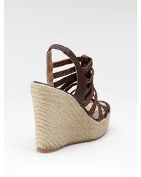 Elie Tahari | Brown Strappy Espadrille Wedge Sandals | Lyst