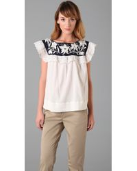 MILLY - Blue Runway Oria Floral Embroidered Marlena Ruffle Top - Lyst