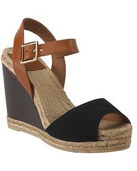 Tory Burch | Wood Wedge - Espadrille Sandal in Black | Lyst