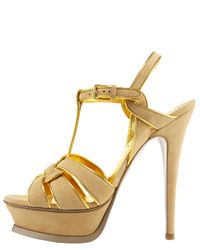 Saint Laurent | Tribute Metallic-trim Suede Sandal | Lyst