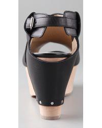 3.1 Phillip Lim | Black Wooden Platform Sandals | Lyst