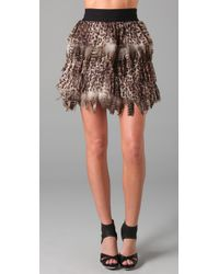 Alice + Olivia | Multicolor Kae Leopard Print Feather Skirt | Lyst