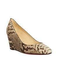 Christian Louboutin | Gray Stone Python Peanut 70 Wedges | Lyst