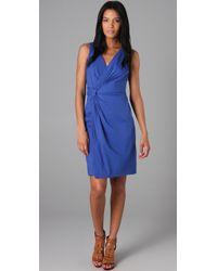 DKNY | Blue Linen Side Knot Surplice Dress | Lyst
