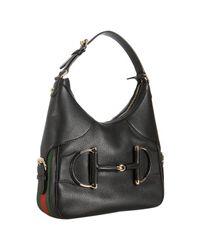 Gucci | Black Pebbled Leather Heritage Cellarius Horsebit Web Stripe Hobo | Lyst