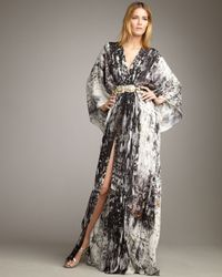 Naeem Khan | Black Abstract-print Georgette Maxi Caftan | Lyst