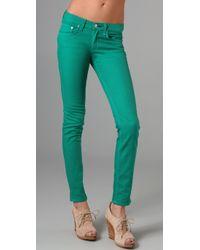 Rag & Bone   Green Denim Skinny Jeans   Lyst