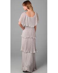 Rebecca Taylor - Gray Micro Pleat Gown - Lyst