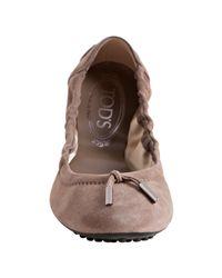 Tod's - Brown Turtledove Suede Dee Ballerina Flats - Lyst